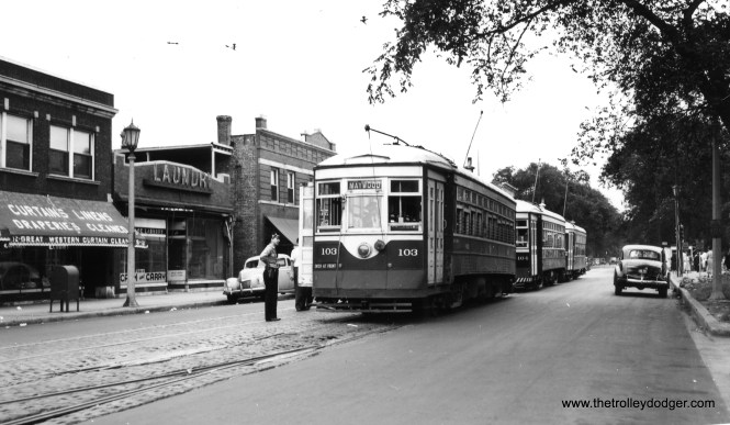 Three C&WT streetcars, including 103 and 104, are on Lake Street at Austin Boulevard. We are looking to the east, which explains why the head car is signed for Maywood. According to Don's Rail Photos, both 103 and 104 were built by McGuire-Cummings in 1917 and scrapped in 1948. (Joe L. Diaz Photo)