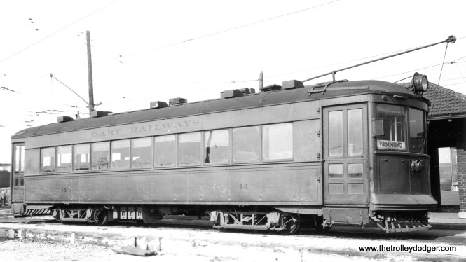 Gary Railways 14, at a loop on the Hammond line, on October 27, 1940. According to the photo information, it was built by Cummings in 1926.