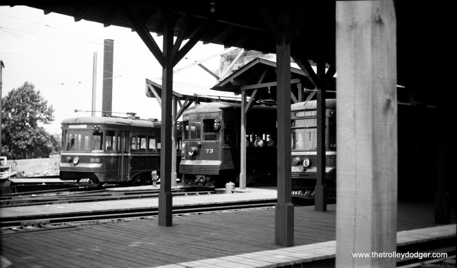 "Philadelphia & West Chester Traction (later Philadelphia Suburban Transportation Co.) cars 86, 73 and 83 at 69th Street Terminal in 1936. Don's Rail Photos: ""73 was built by Brill Car Co in April 1927, #22212. It became SEPTA 73 in 1970 and sold to Pennsylvania Trolley Museum in 1990. 83 was built by Brill Car Co in March 1932, #22980. It became SEPTA 83 in 1970 and sold to Middletown & Hummelstown in 1982."""