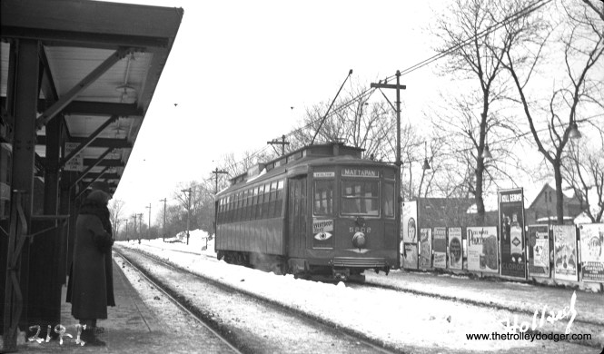 "Boston stretcar 5202 at Valley Road on the Ashmont-Mattapan line on February 11, 1935. This ""light rail"" line continues in service with PCC cars. (M. L. Young Photo)"