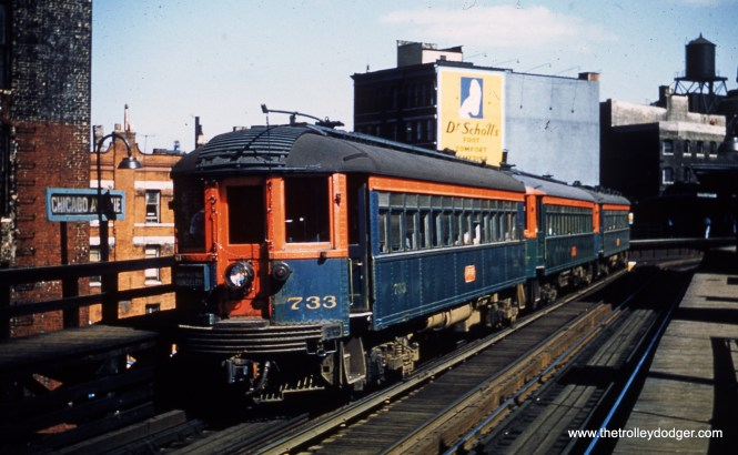 "North Shore Line 733 is at Chicago Avenue on the ""L"" in June 1953."