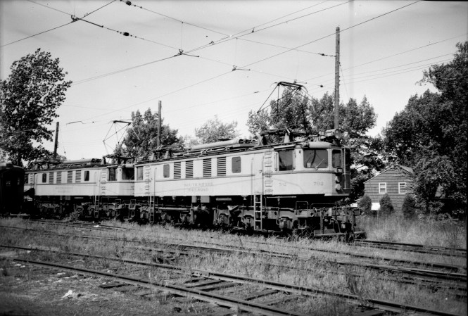 South Shore Line freight loco 702 in Michigan City on September 5, 1966. It was originally built in 1930 by Alco-General Electric for the New York Central, and came to the South Shore Line in 1955. The 700-series locos were scrapped in 1976. (Photo by Leander)