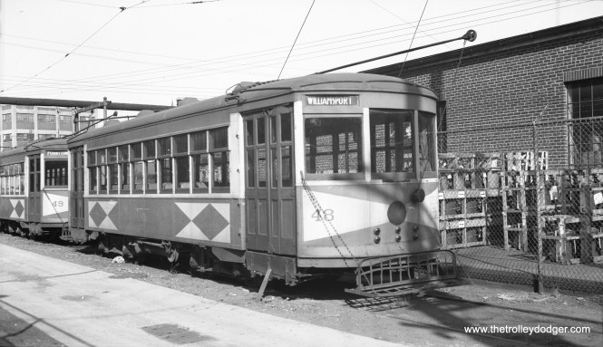 """Hagerstown & Frederick car 48 on June 24, 1939. Don's Rail Photos: """"48 was built by Brill in 1926. It came from the CG&W (Chambersburg Greencastle & Waynesboro Street Ry.), since they were owned by Potomac Edison, too. It was retired in 1949 and disposition is unknown."""" (Al Seibel Photo)"""