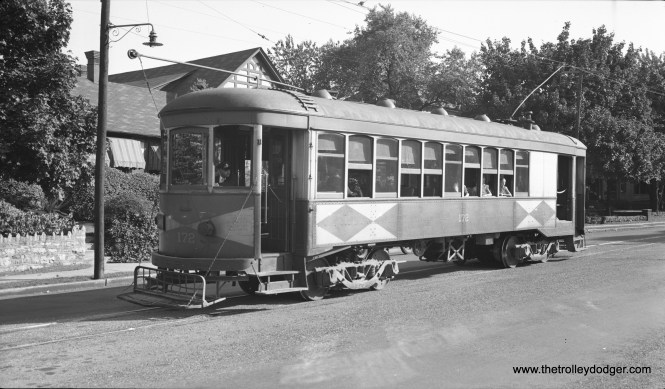 """Hagerstown & Frederick combine 172 on September 24, 1939. Don's Rail Photos: """"172 was built by Brill in 1921. It was retired in 1954. The disposition is unknown."""" (Al Seibel Photo)"""