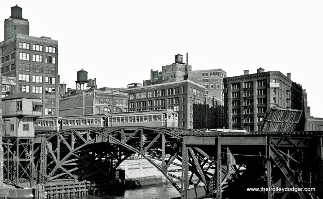 The Chicago River bridge, which was really two bridges side by side.