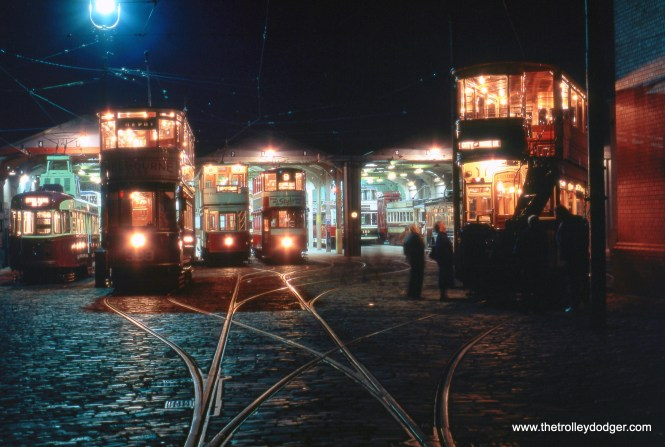 A night shot from the National Tramway Museum in Crich (UK), which is home to more than 60 trams built between 1900 and 1950.