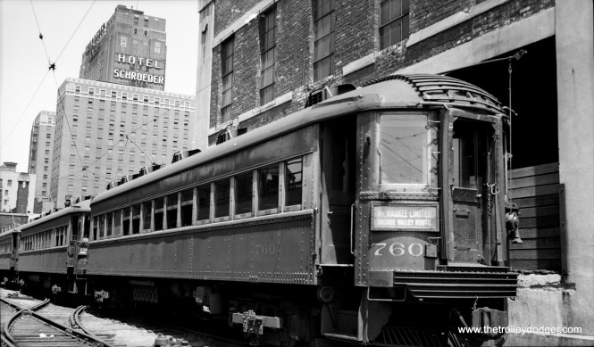 "North Shore Line car 760 in Milwaukee. Don's Rail Photos says: ""760 was built by Standard Steel Car Co in 1930. It was modernized in 1945 and rebuilt as (a) Silverliner on September 23, 1952."" Since photographer LaMar M. Kelley died on January 5, 1948 (see below), this picture cannot be later than that date."