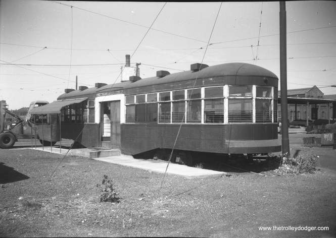 A CSL trailer being used as an office at South Shops on September 10, 1952.