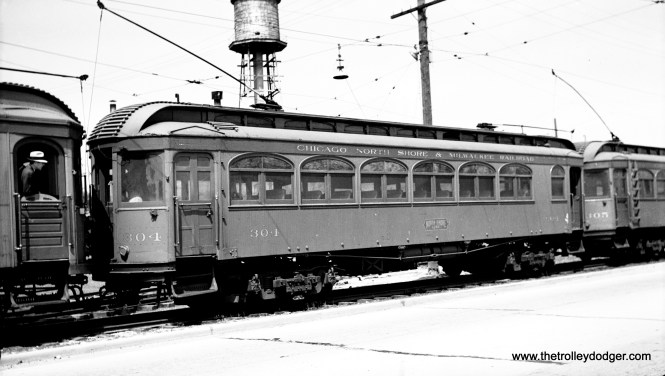 North Shore Line wood car 304, built by American Car in 1910, as it looked in June 1938. It became a sleet cutter in 1939 and was scrapped the following year.