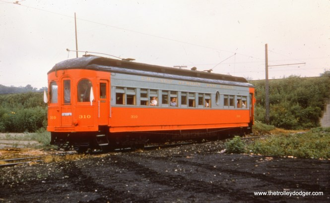 CA&E 310 in 1955 on the Mt. Carmel branch on a fantrip.