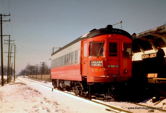CA&E 453 is eastbound at Batavia Junction as a Chicago Local.