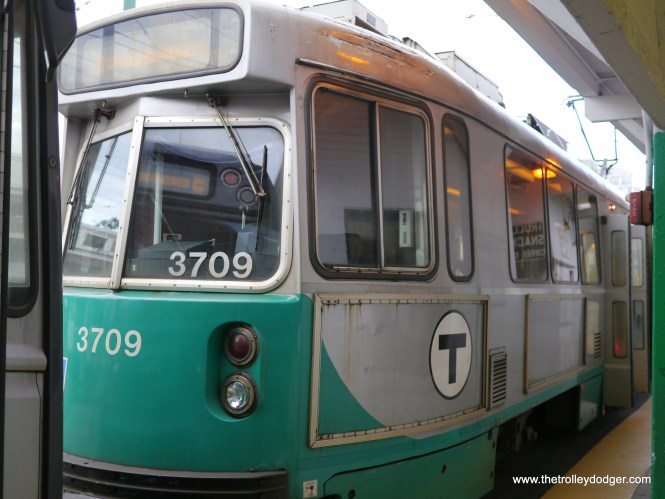 """These """"Type 7"""" LRVs were built between 1986 and 1997, and have been rehabbed since I was last in Boston three years ago. Now they are all paired in service with the newer Type 8s, which are handicapped accessible."""
