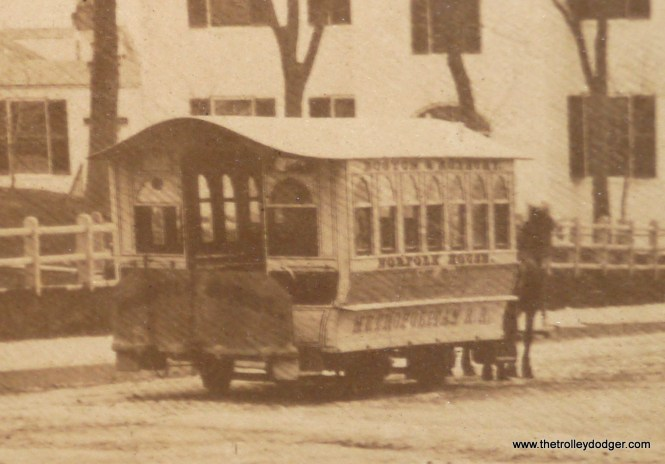 A close-up of the photo, showing a horse car on the line to Norfolk House, operated between Boston and Roxbury by the Metropolitan Railroad Co., which operated between 1856 and 1886.