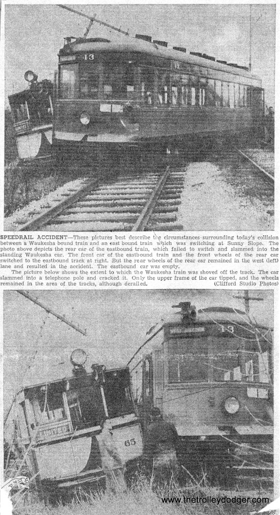 #10 - Newspaper clipping showing 2-8-50 Speedrail accident at Sunny Slope Rd. Larry Sakar collection.