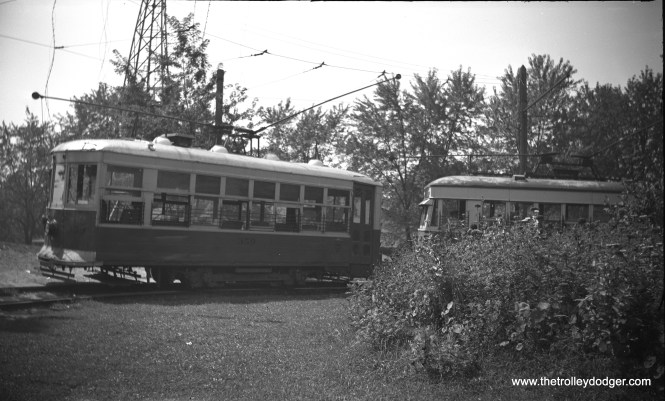 "New Castle (Pennsylvania) Electric Street Railway ""Birney"" car 359 at Cascade Park loop on August 24, 1941. This car was ex=Penn-Ohio Power and Light 359, and was painted orange and cream. (John A. Clark Photo)"