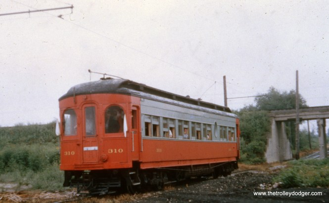 CA&E 310 on a 1955 fantrip on the Mt. Carmel branch.