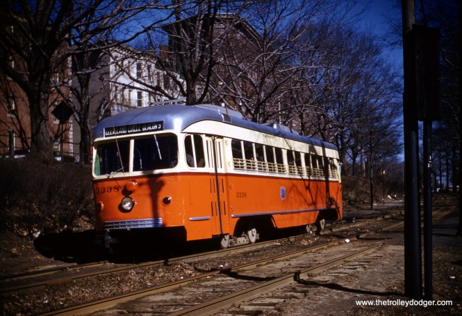 "Boston double-end PCC 3338 on the Beacon Street line in February 1960. Don's Rail Photos: ""3338 was built by Pullman-Standard in 1945, #W6699, as DR&T 603. It was sold as MTA 3338 in 1959 and acquired by Trolley Inc in 1983. It was purchased by Seashore Trolley Museum in 1994."""