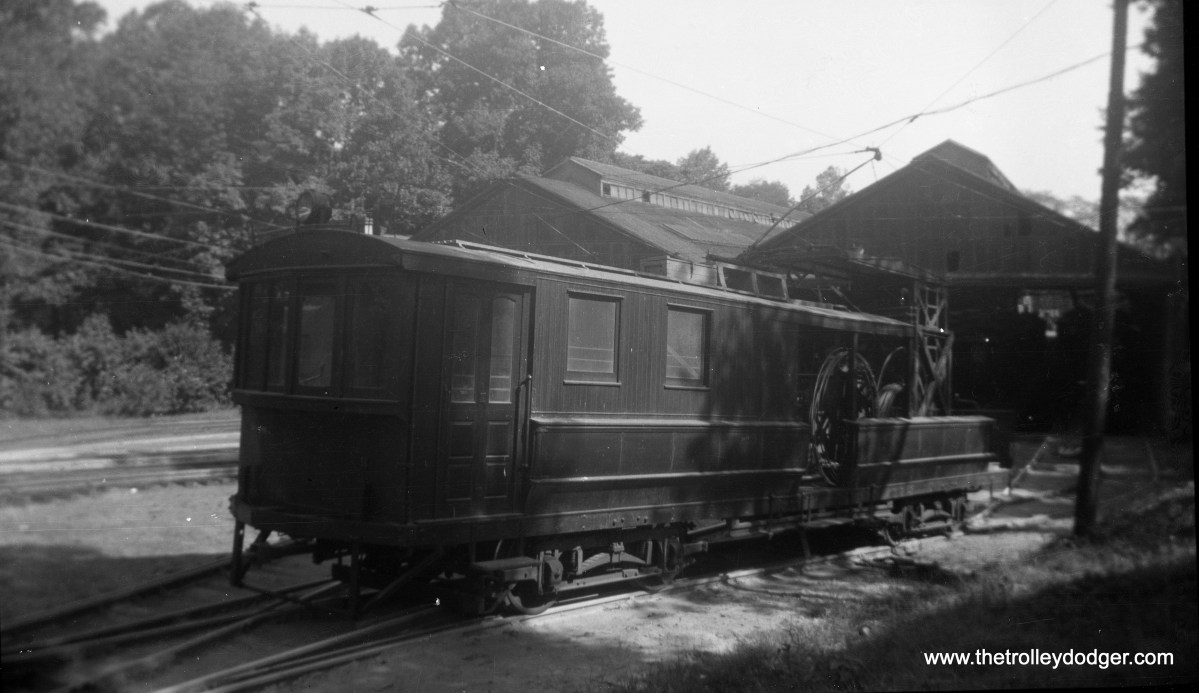 Line car 200 at the car house in the mid-1940s.