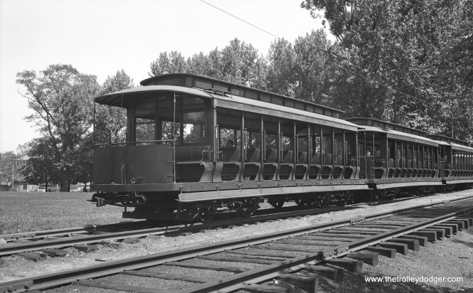 Car 54, a 14-bench open car and two other cars in the same series at the Belmont Avenue car house in July 1934. (W. Lupher Hay Photo)