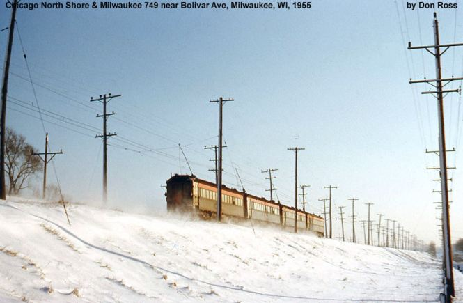 "9A NSL 749 et al near Bolivar Ave. in ""North Shore weather"" 1955. Today this is where I-94 crosses the abandoned r.o.w. From this point south the r.o.w. embankment was removed and parts of it have now been built on. Don Ross"