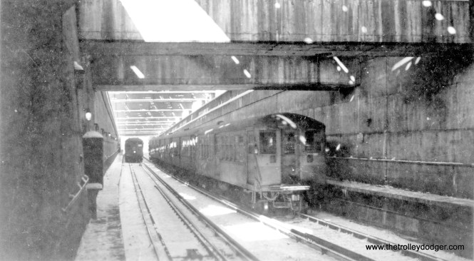 """L"" trains at the north State Street subway portal, probably in the 1940s."