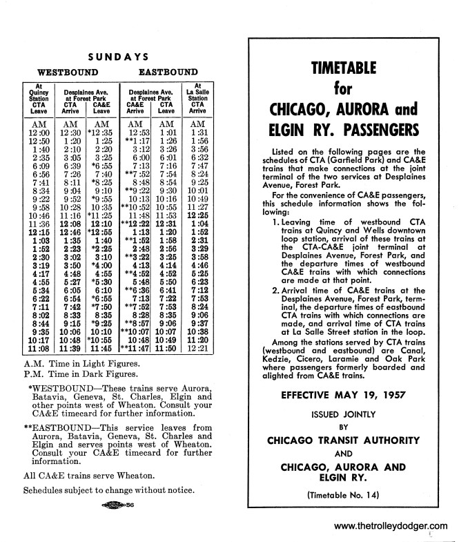 Once CA&E trains were cut back to Forest Park in September 1953, joint timetables were issued for the benefit of passengers who wanted to continue to the Loop. These schedules were changed several times over the nearly four years before the CA&E abandoned passenger service. This is the 14th, and perhaps last such timetable. Over time, I assume there were fewer CA&E trains as ridership was declining. We previously posted timetable #7 here.