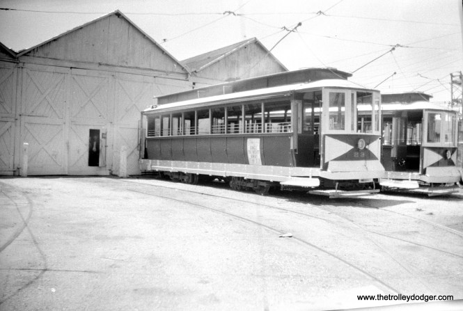Five Mile Beach cars 22 and 27 at the Wildwood car house on May 30, 1945. (Walter Hulseweder Photo)