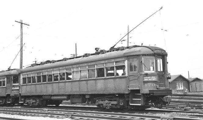 North Shore Line 170 at the Highwood Shops on July 5, 1949.