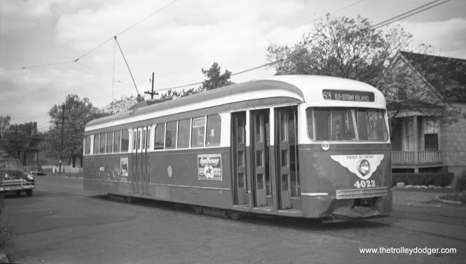 CTA 4022 heading east on 63rd Street in the early 1950s.