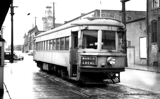 Indiana Railroad lightweight high-speed interurban car 71 was built by Pullman in 1931. After passenger service ended in 1941, there were no buyers for this car or the great majority of its brothers, so it was scrapped. Then the war broke out and electric railways were soon using every available car. Sister car 65 is preserved at the Illinois Railway Museum, while 55 is saved at Seashore Trolley Museum as Lehigh Valley Transit car 1030.