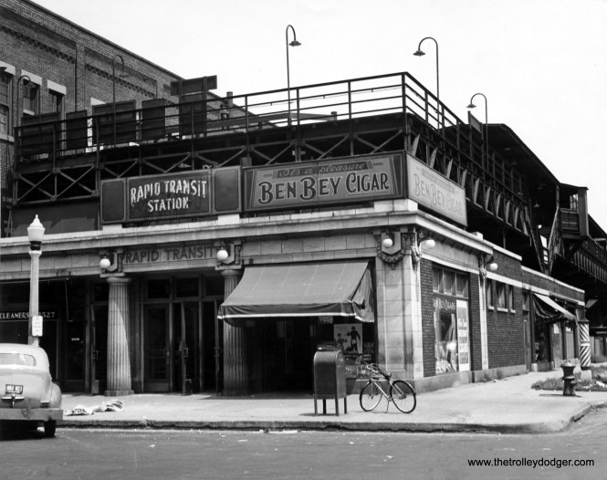 "Incredibly, this building, which served as the terminal for the Logan Square branch of Chicago's ""L"" until 1970, is still there, although heavily modified, and now serves as the home of City Lit Books at 2523 N. Kedzie. (Chicago Transit Authority Photo)"