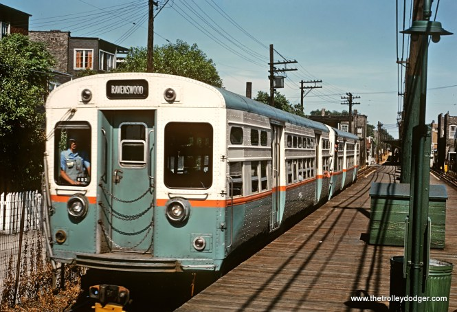 In July 1965, a two-car train of flat-door CTA 6000s is on the ground-level portion of the Ravenswood route, todays' Brown Line. (Roger Puta Photo)