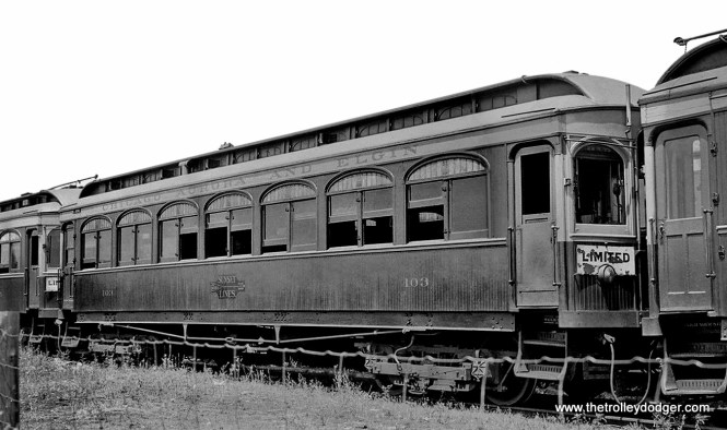 CA&E 103, a trailer, was built by Stephenson in 1902.