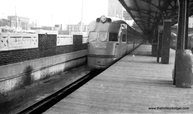 A North Shore Line Electroliner at the Milwaukee terminal.