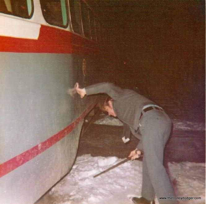 A PA Transit PCC with the motorman using a switch iron in 1972. (Bill Beaudot Photo)A PA Transit PCC with the motorman using a switch iron in 1972. (Bill Beaudot Photo)
