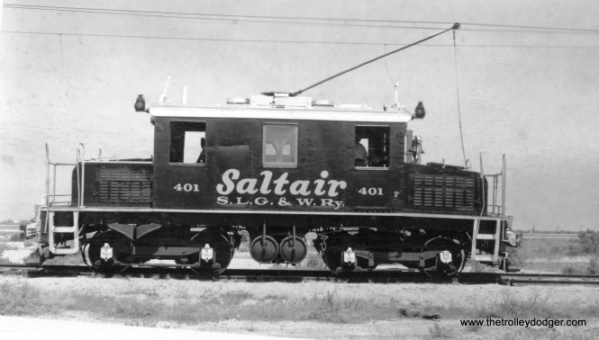 Salt Lake, Garfield and Western 401 was former Salt Lake and Utah 104. It changed hands in 1946, and is seen here in December 1952.