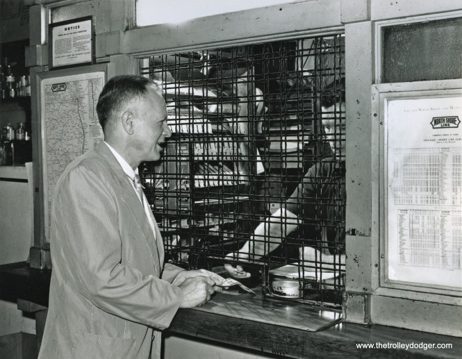 On July 23, 1955, John D. Emery, then president of the Evanston Historical Society, purchased the last Shore Line ticket sold at the Church Street station from agent George Kennedy. The ticket window was closed the following day (Sunday), and the last Shore Line train ran in the early hours of July 25 (Monday). The ticket remains in the Historical Society collection. Emery was later (1962-1970) the mayor of Evanston, during which time he vetoed an anti-discrimination housing ordinance. (Evanston Photographic Service/J.J. Sedelmaier Collection Photo)