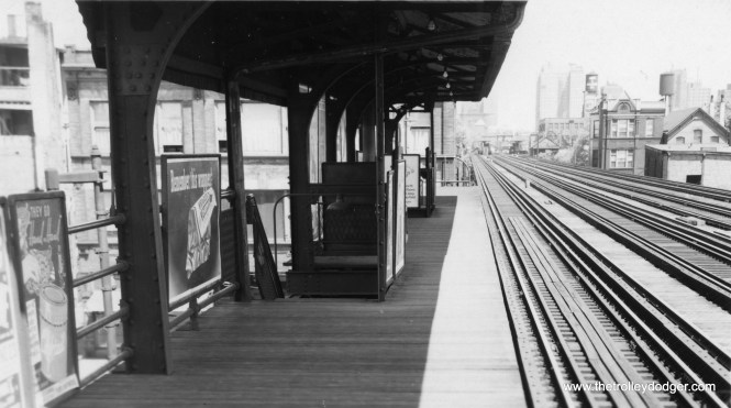 "The old Larrabee ""L"" station at North Avenue. This station was also called Larrabee and Ogden, after Ogden was extended north between 1926 and 1930. It was closed by the CTA in 1949 as part of a service revision."