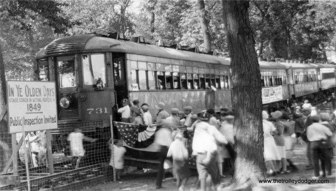 North Shore Line car 731 (and train) at the Wisconsin State Fair, possibly circa 1930. In order to access the fairgrounds, North Shore Line cars had to get there via the Milwaukee Electric. Incompatibilities between the two interurbans' wheel profiles resulted in wheel damage to the NSL.