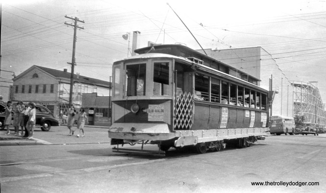 Five Mile Beach electric Railway car 27 at Atlantic and Oak Avenues in Wildwood, on the Angelsea-Crest line, June 1945. A bus is also visible. (Walter Hulseweder Photo)