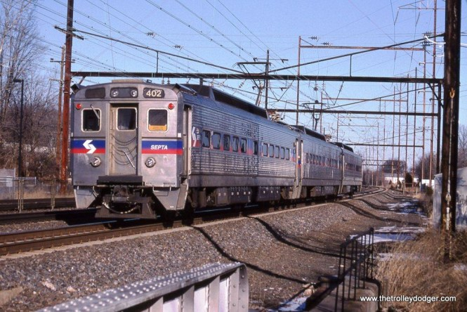 A train of SEPTA Silverliner IV MUs departs Cornwall Heights, PA. 1-10-10.