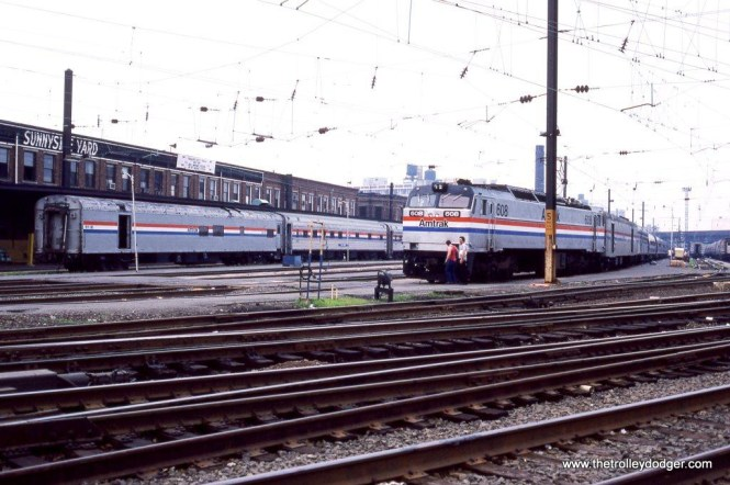 Photo 10. Amtrak E-60 #608 on Train #88 SILVER METEOR is being cleaned and stocked at Sunnyside.