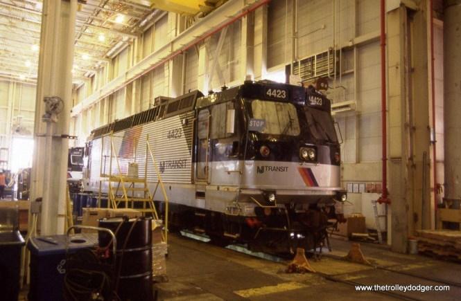 Photo 11. NJ TRANSIT ALP-44M #4423 inside the MMC locomotive shop Kearny, NJ on April 4, 2012.