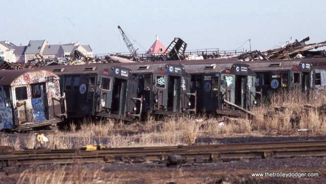 End of the line: NYCTA R-10 cars face a very bleak future at Greenville yard, Jersey City, NJ.