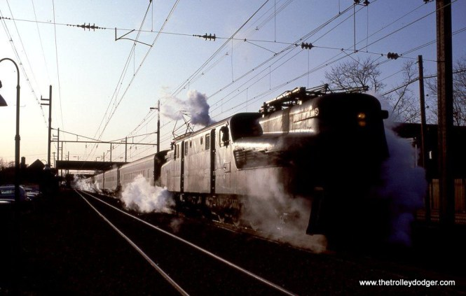 Photo 13. NJT GG-1 #4882 is about to depart South Amboy early on the cold morning of January 13, 1983. I'm sure the passengers were very happy to have that steam heat. Before the end of the year, the Gs will be replaced by Ex-Amtrak E-60s.