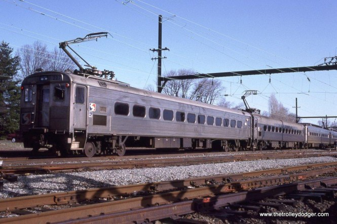 SEPTA Silverliner III #227 at West Trenton NJ. 3-29 -92. This MU was built by St Louis car in 1967.