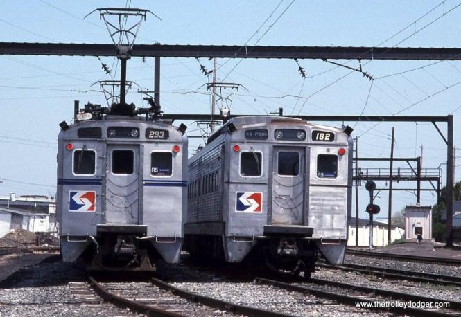 SEPTA Silverliner II #263 & Silverliner IV #182 at Lansdale, PA in April of 1993.