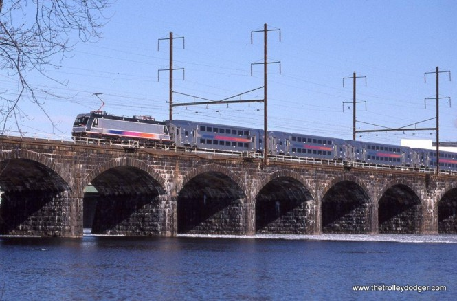 Photo 2. ALP-46 #4612 is crossing the Delaware River on the Northeast Corridor at Morrisville, PA 1-10-10.