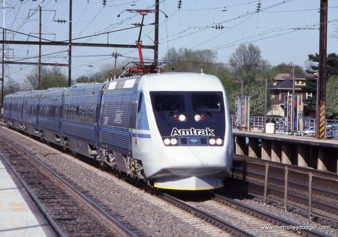 Photo 37. Amtrak's leased X-2000 trainset was assigned to Express Metroliner #223 on April 27, 1993. It is shown here flying though Edison, NJ.