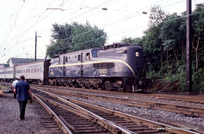Photo 4. Ex- PRR GG-1 #4883 departs South Amboy, NJ bound for Penn Station New York.